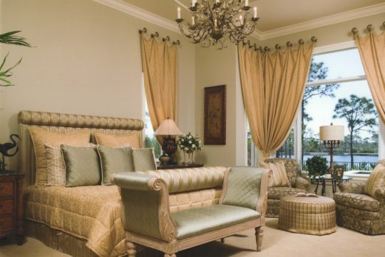 Medalist gold and green bedroom before ecclestone homes