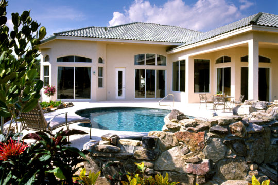 Shearborne back elevation with pool before ecclestone palm beach