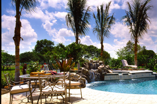 Shearborne backyard with pool and patio set