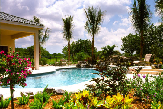 backyard with pool and landscaping
