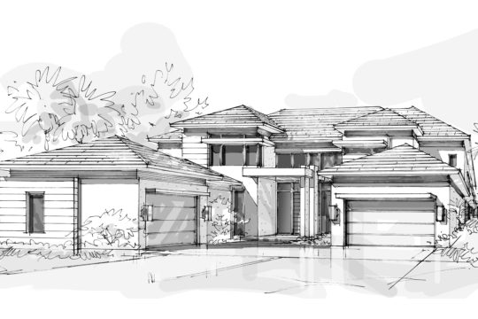 sketch of an elevation of a home by ecclestone