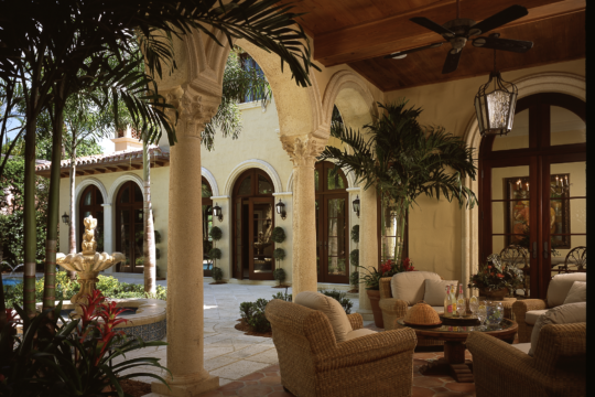 Woodbridge patio and courtyard before ecclestone signature homes