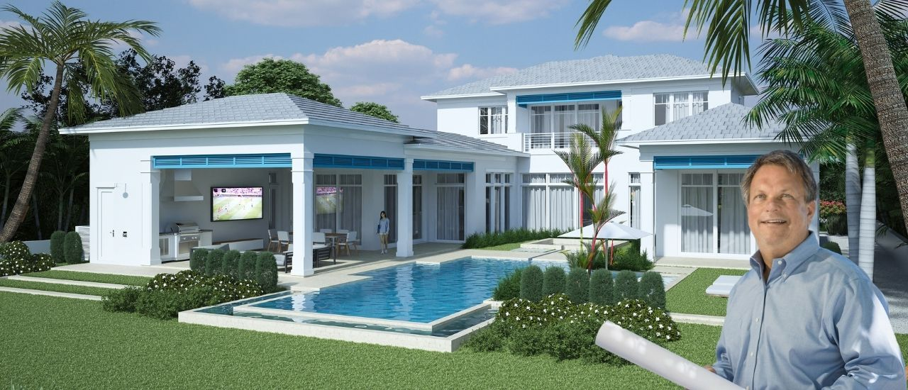exterior elevation of a backyard home by ecclestone homes with pool