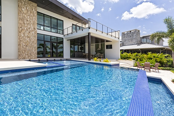 luxury pool with 2 levels and modern home